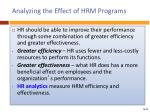 analyzing the effect of hrm programs