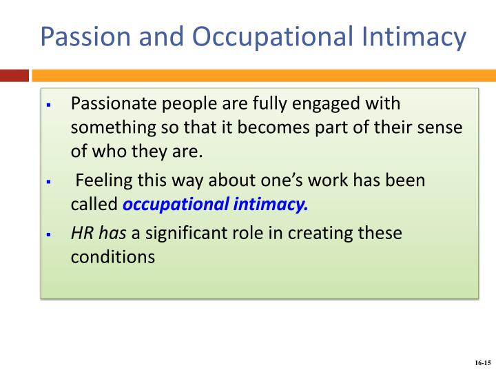 Passion and Occupational Intimacy
