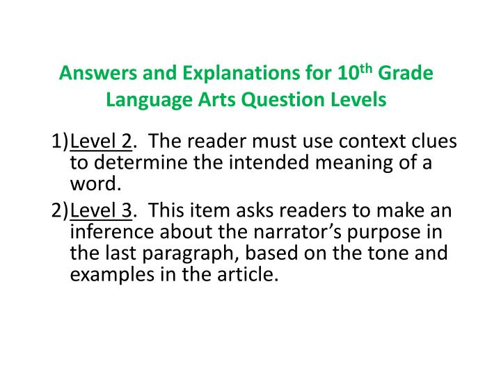 Answers and Explanations for 10