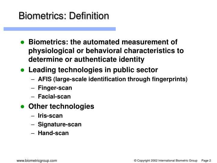 Biometrics: Definition