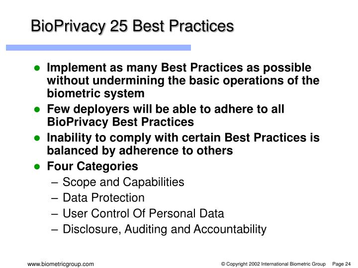 BioPrivacy 25 Best Practices