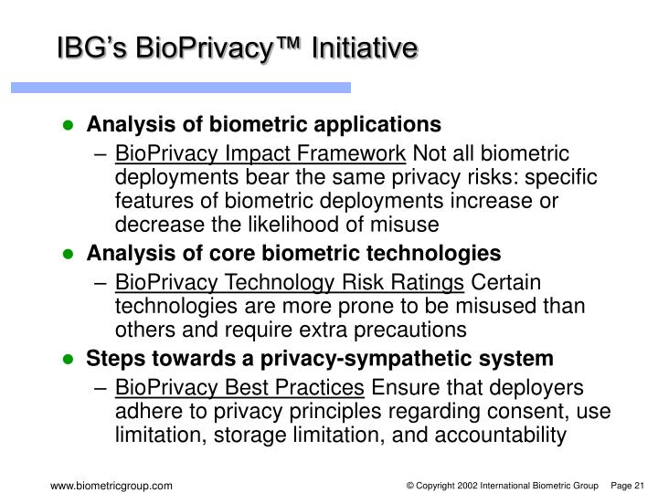 IBG's BioPrivacy™ Initiative