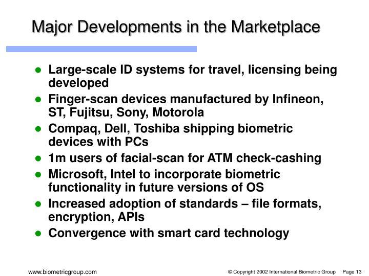 Major Developments in the Marketplace