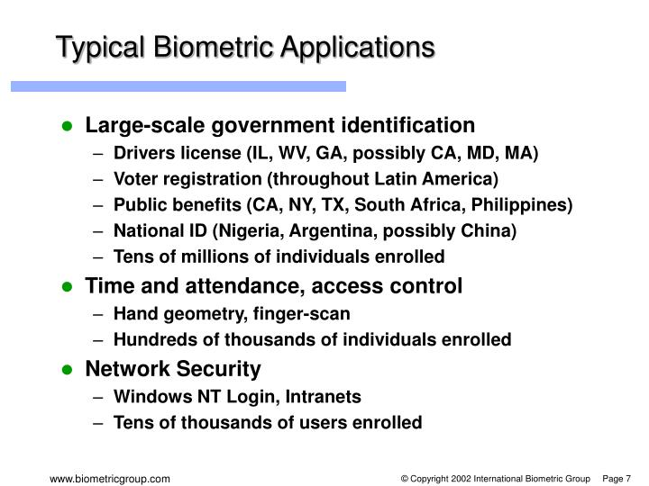 Typical Biometric Applications