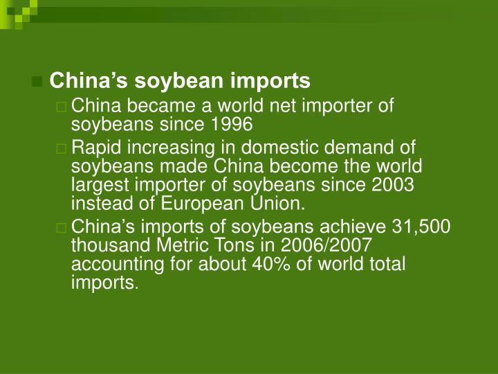 China's soybean imports