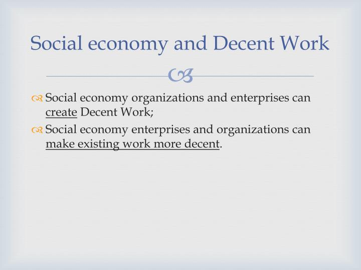 Social economy and Decent Work