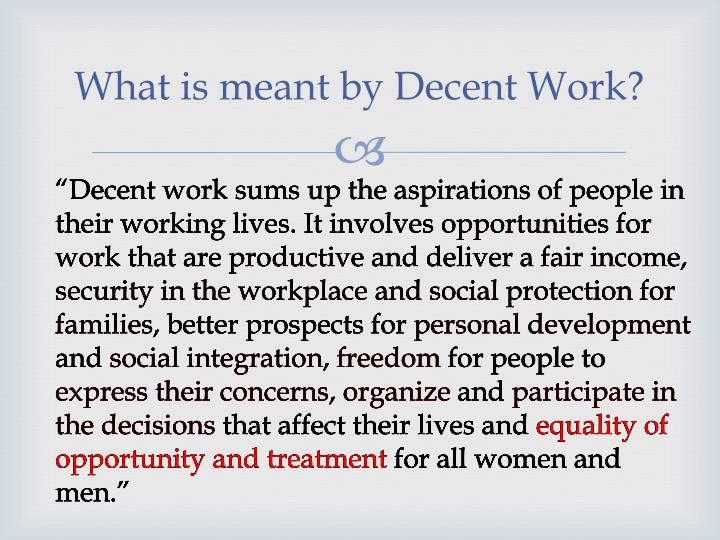 What is meant by Decent Work?