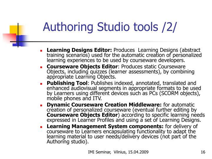 Authoring Studio tools /2/