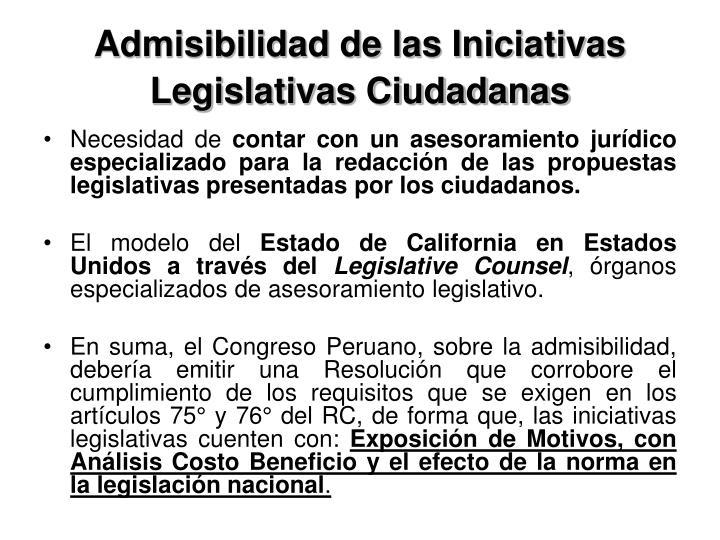 Admisibilidad de las Iniciativas Legislativas Ciudadanas