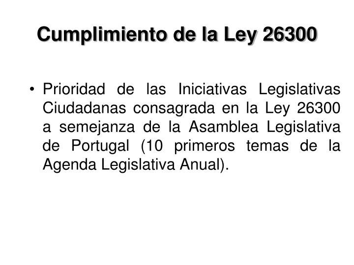 Cumplimiento de la Ley 26300