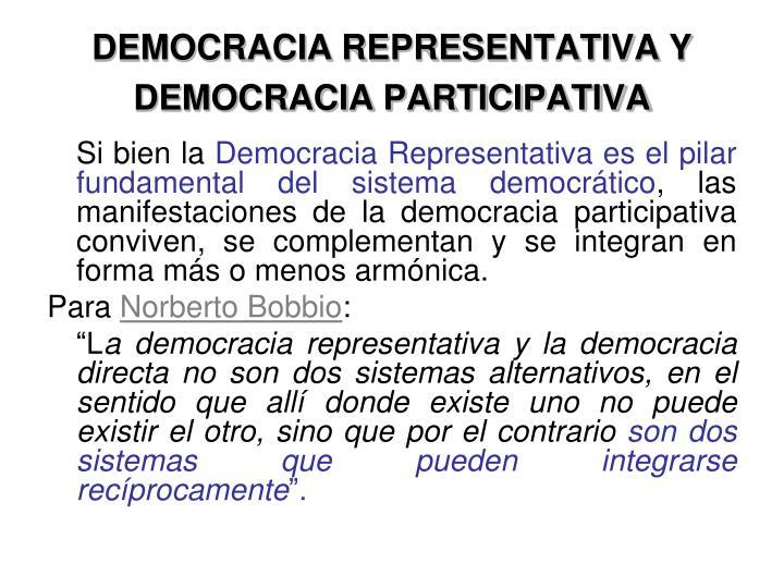 DEMOCRACIA REPRESENTATIVA Y DEMOCRACIA PARTICIPATIVA