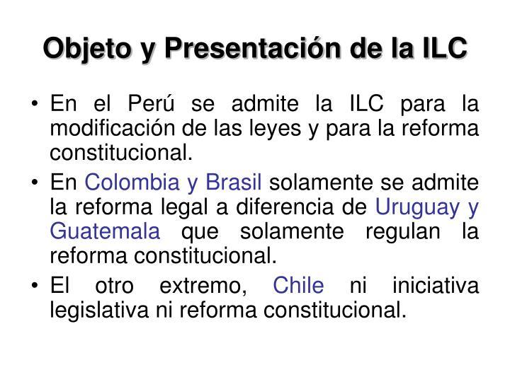 Objeto y Presentación de la ILC