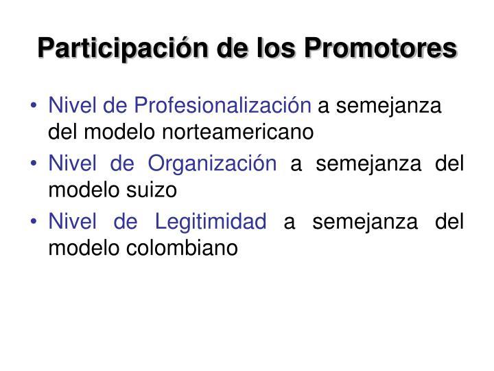 Participación de los Promotores