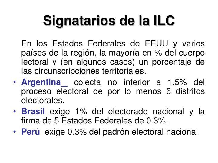 Signatarios de la ILC