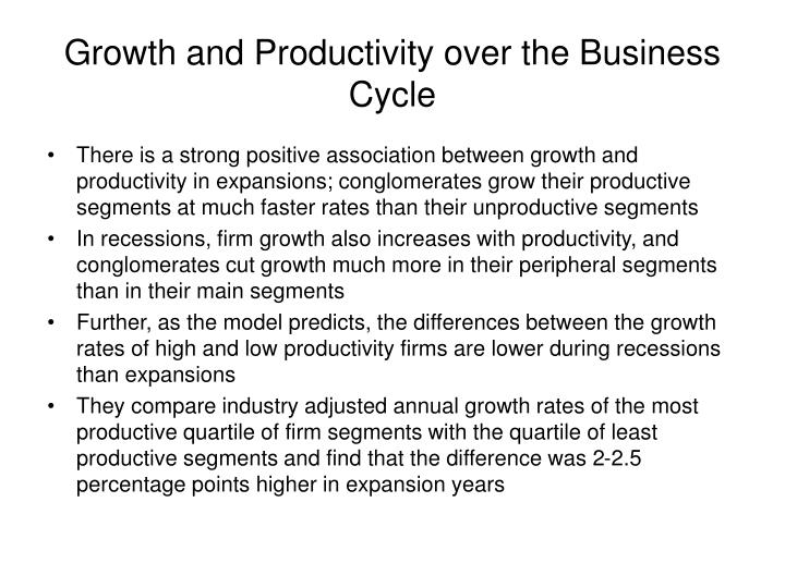 Growth and Productivity over the Business Cycle