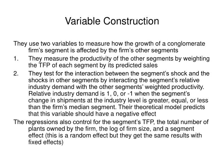 Variable Construction