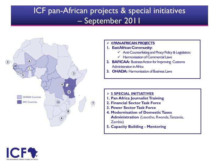 ICF pan-African projects & special initiatives