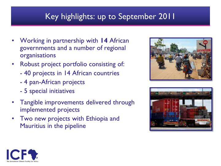 Key highlights: up to September 2011