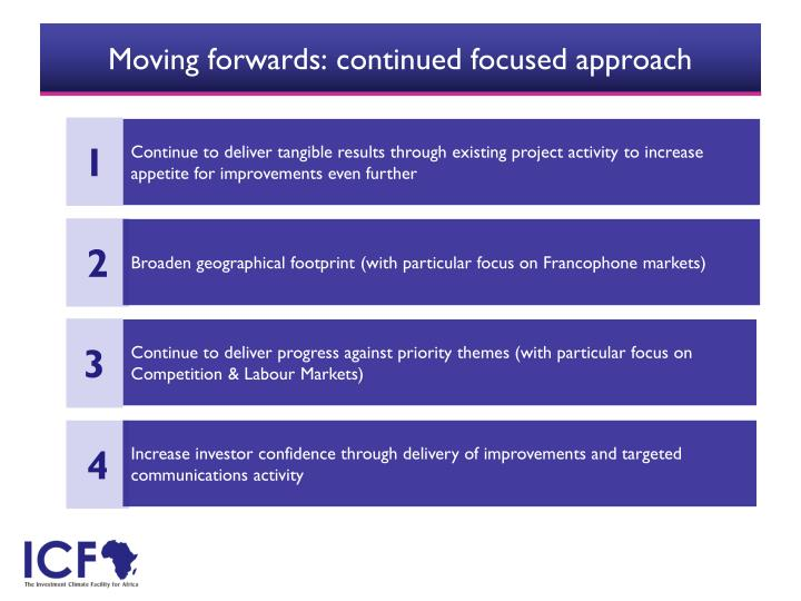 Moving forwards: continued focused approach