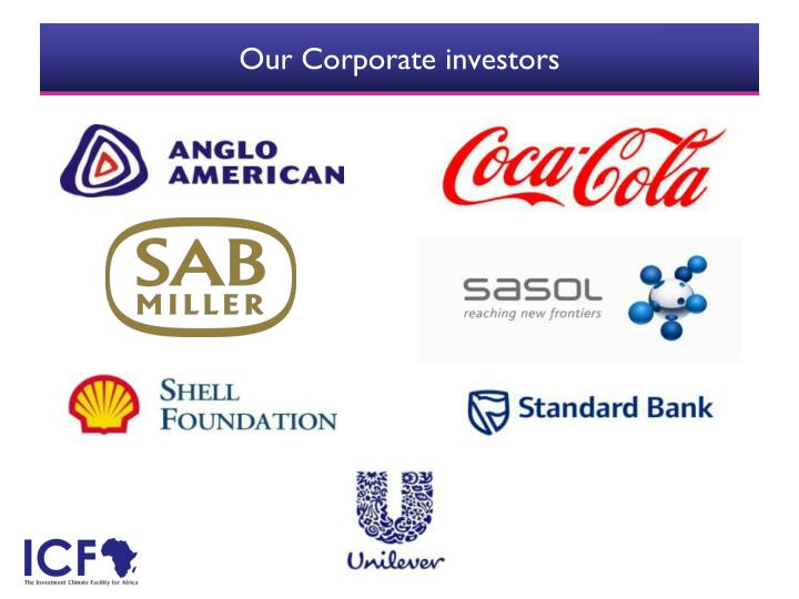 Our Corporate investors