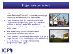 project selection criteria