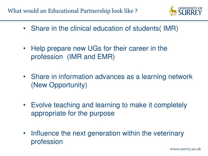 What would an Educational Partnership look like ?