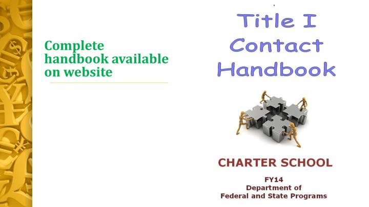 Complete handbook available on website
