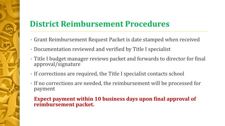 District Reimbursement Procedures