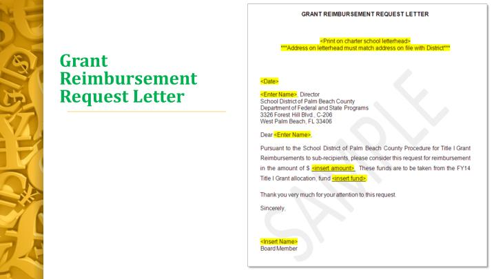 Grant Reimbursement Request Letter
