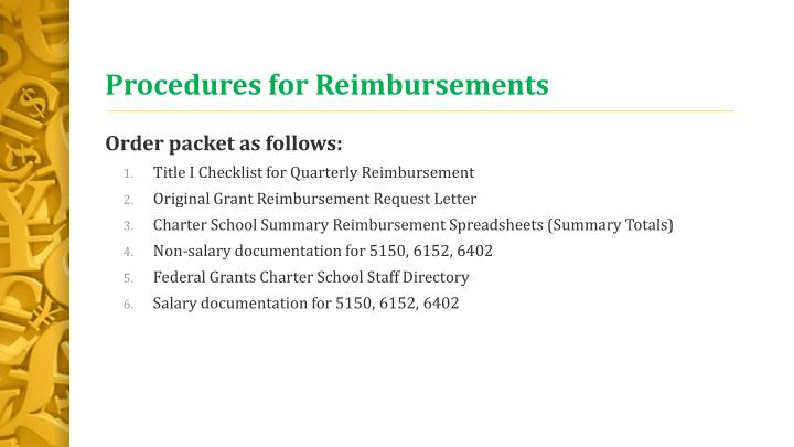 Procedures for Reimbursements