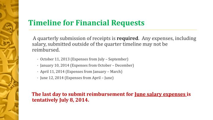 Timeline for financial requests