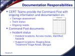 documentation responsibilities