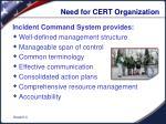 need for cert organization