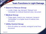 team functions in light damage