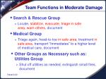 team functions in moderate damage