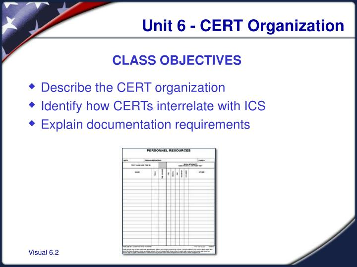 Unit 6 - CERT Organization
