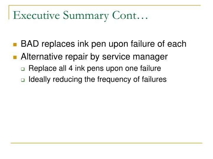 Executive Summary Cont…