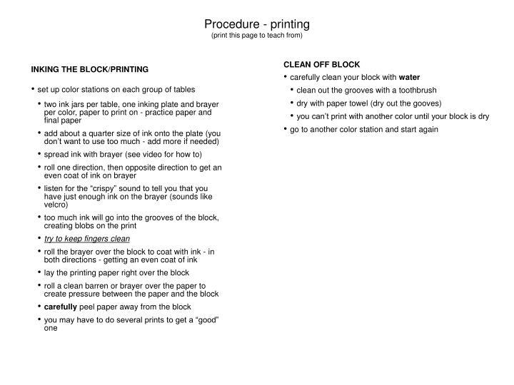 Procedure - printing
