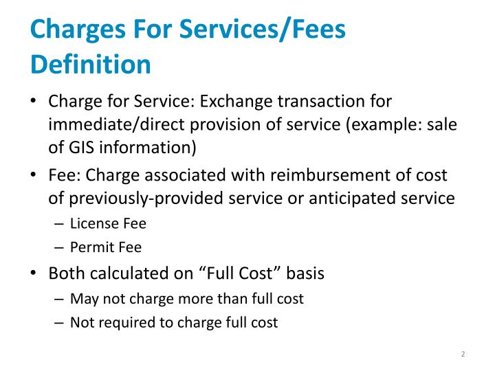 Charges for services fees definition