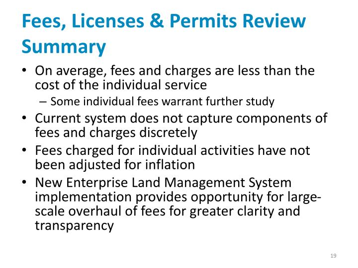 Fees, Licenses & Permits Review