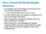 fees licenses permits review summary