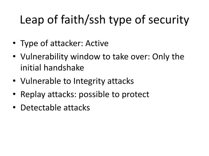 Leap of faith/ssh type of security