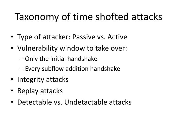 Taxonomy of time shofted attacks
