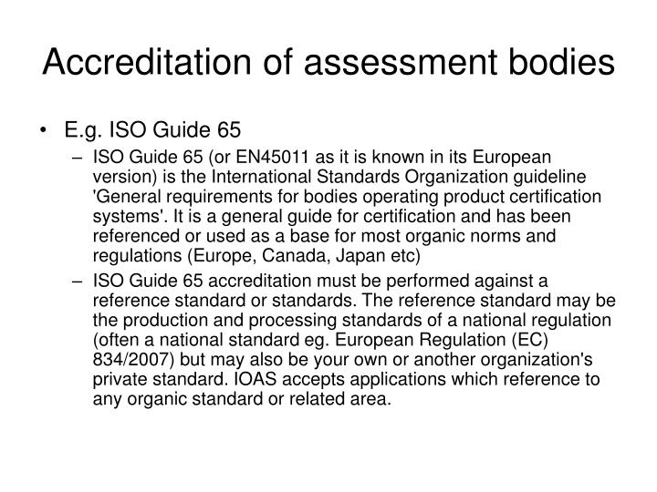 Accreditation of assessment bodies