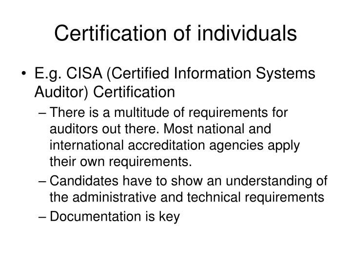 Certification of individuals