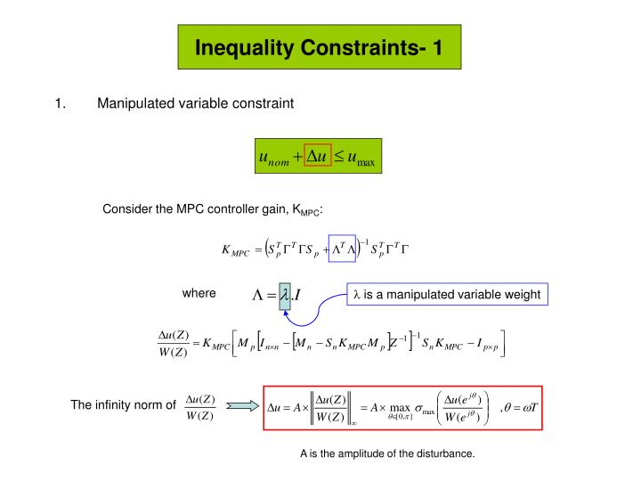 Inequality Constraints- 1