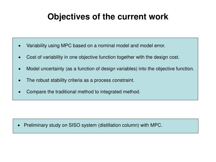 Objectives of the current work