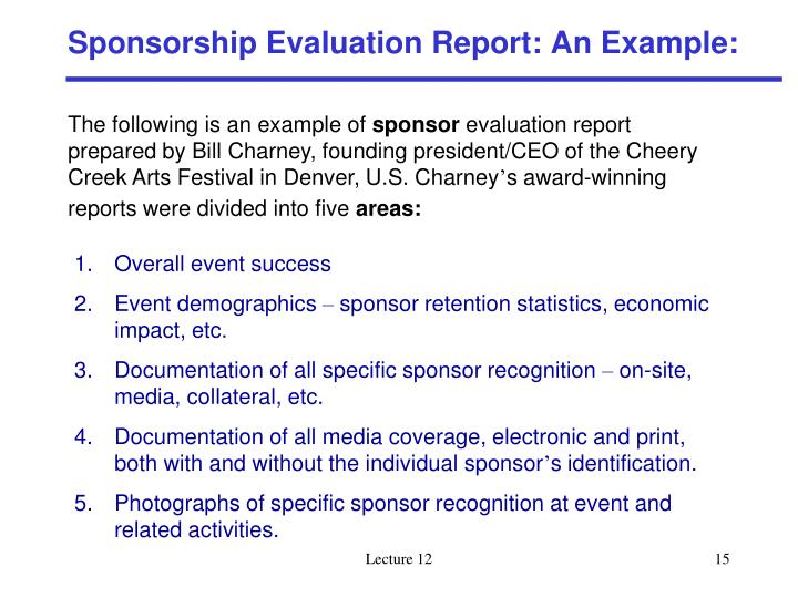 Sponsorship Evaluation Report: An Example: