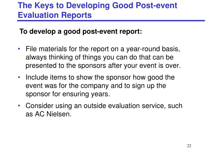 The Keys to Developing Good Post-event Evaluation Reports