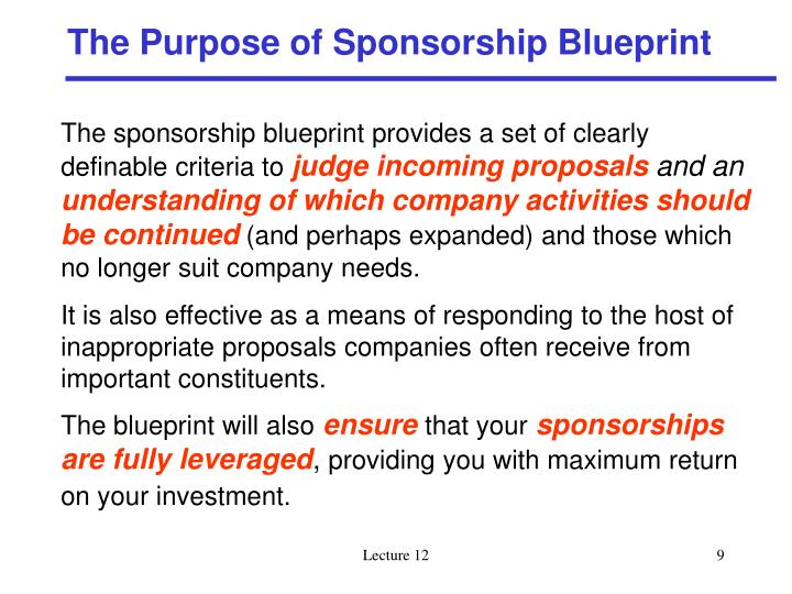 The Purpose of Sponsorship Blueprint